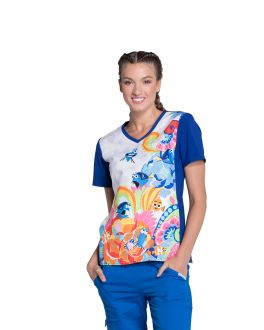 Tooniforms Fluent In Whale V-Neck Print Scrub Top
