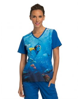 Tooniforms Which Way Is Home? V-Neck Knit Panel Print Scrub Top